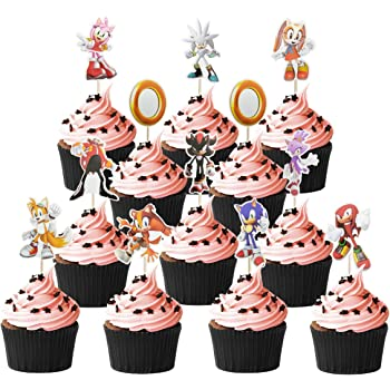 Amazon Com 24 Pcs Of Sonic The Hedgehog Cake Topper Sonic The
