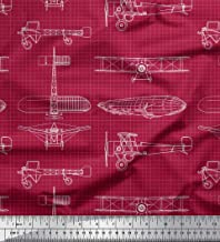 Soimoi Red Cotton Cambric Fabric Check & Airplane Transport Printed Fabric 1 Yard 56 Inch Wide