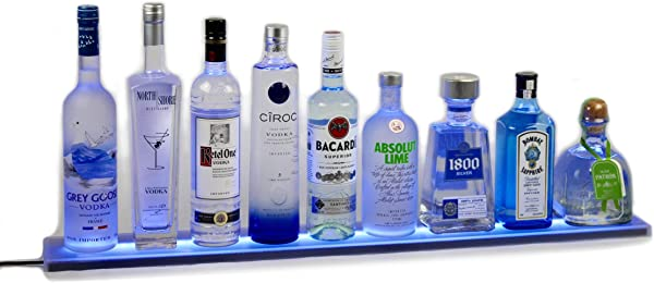 Armana Productions 71 Inch LED Lighted Liquor Shelves Bottle Display Liquor Bottle Shelf 5 Ft 11 Inches Long Display With Wireless Remote Control