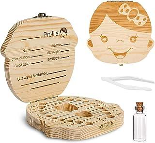 Comius Sharp Boîte à dents en bois pour bébé, récipient de stockage pour dents pour enfant, boîte à dents avec pince à épi...
