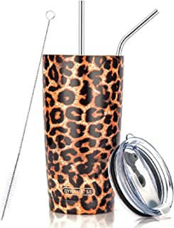 DYNAMIC SE Tumbler Double Wall Stainless Steel Vacuum Insulated Travel Mug with Splash-Proof Lid Metal Straw and Brush (Leopard, 20oz)