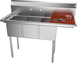 KoolMore 3 Compartment Stainless Steel NSF Commercial Kitchen Sink with Drainboard - Bowl Size 12