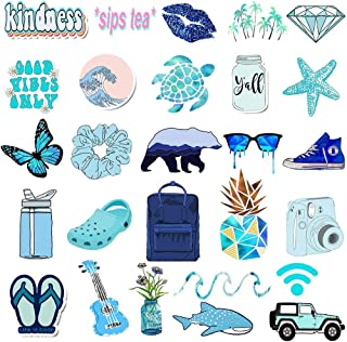AKEROCK 50 Packs VSCO Hydro Flask Stickers for Water Bottles and Laptops, Aesthetic Trendy Waterproof Vinyl Sticker Pack for Hydro Cameras Phone Luggage Graffiti Decal, Blue