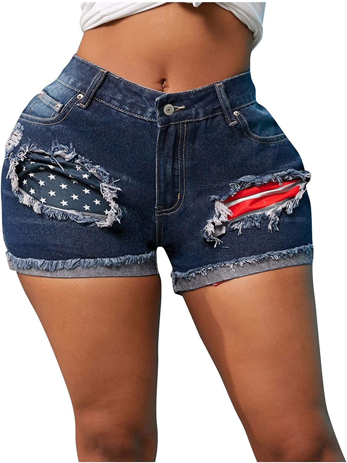 HENAA Denim Shorts for Women High Waisted Skinny Push Up Butt Lifting Frayed Raw Hem with US Flag Patch