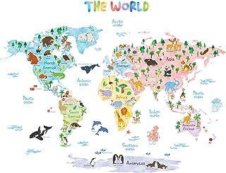 Decowall DLT-1615 Animal World Map Kids Wall Decals Wall...