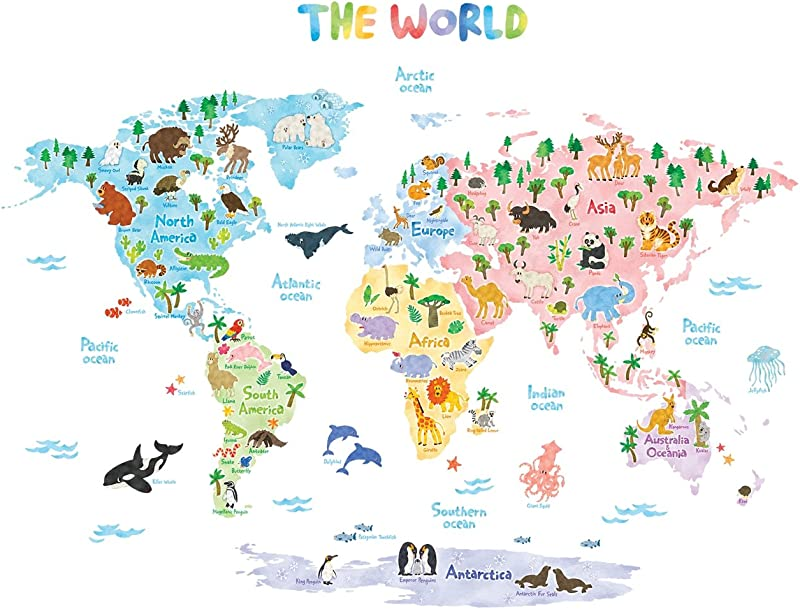 Decowall DLT 1615 Animal World Map Kids Wall Decals Wall Stickers Peel And Stick Removable Wall Stickers For Kids Nursery Bedroom Living Room XLarge