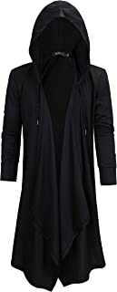 HZTG Mens Black Fashion Casual Long Hoodies Irregular Hem Cardigan Sweater
