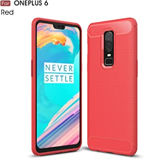 BEIXI OnePlus 6 Case, Extremist Blithe Carbon Fiber Armor Shockproof Napped Silicone Grip Case for OnePlus 6 (Color : Red)