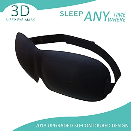 White Knight Tech Sleep Mask- 3D Eye Mask Adjustable Strap- Soft/Comfy/Hypoallergenic/Lightweight/Breathable- Perfect Luxury Sleeping Covers (Black)