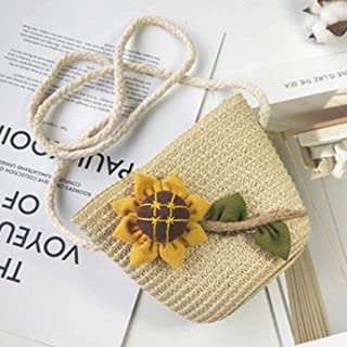 Harlelina Affordable Kids Baby Girl Boho Shoulder Handbag Crossbody Bag Straw Beach Satchel Purse Bag None