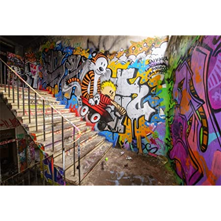 Urban Art Photo Prop 2ft Moving Day Digital Backdrop 61cm City Background Photography Backdrop Yellow Car Graffiti Wall