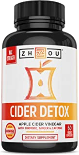 Cider Detox Apple Cider Vinegar Capsules with Ginger, Turmeric and Cayenne, Max Strength Thermogenic Formula for Improved Digestion, Detox, and Heart Health