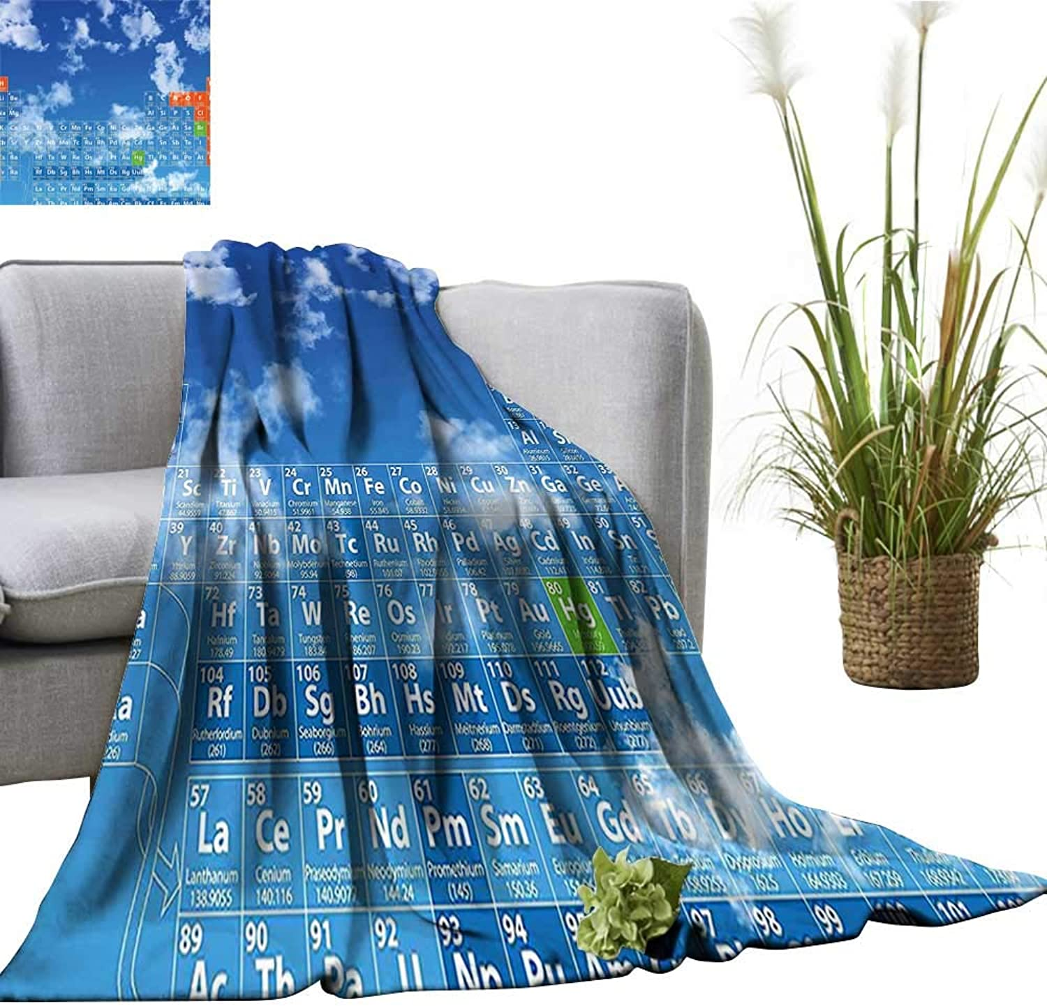 YOYI Single-Sided blanketBright Sky with Coulds and Chemistry Table for Kids Smart Student Print bluee for Bed & Couch Sofa Easy Care 60 x63