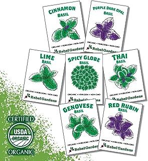 Organic Basil Seeds - Set of 7 Heirloom Non-GMO Seed Varieties - Thai, Genovese, Cinnamon, Spicy Globe, Purple Opal, Red R...