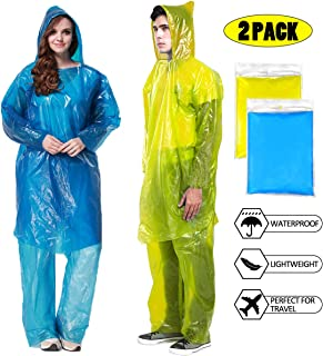 STARUN Adult Disposable Raincoat 2 Pack Portable Reusable Emergency Raincoat Waterproof Lightweight Rain Coat Poncho for Men Women Outdoor Activities Hiking Camping Travel, Yellow and Blue