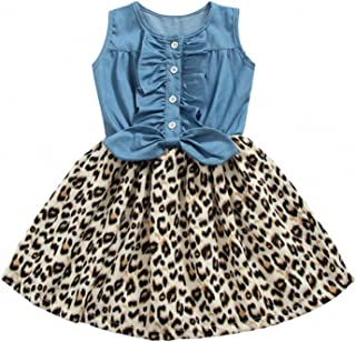 Girls Dress, Princess Dresses Sleeveless Denim Tops Leopard Print Tutu Skirts
