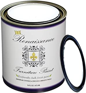 Renaissance Chalk Finish Paint - Snow 1 Pint (16oz) - Chalk Furniture & Cabinet Paint - Non Toxic, Eco-Friendly, Superior Coverage, Snow 01