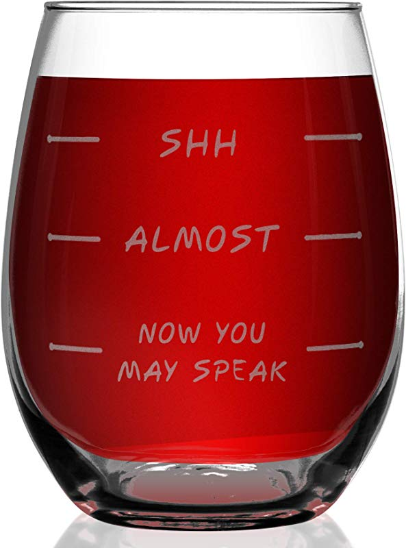 Shop4Ever Shh Almost Now You May Speak Laser Engraved Stemless Wine Glass Funny Gift For Wine Lover Mom Coworker Boss Bestfriend Sister 15 Oz