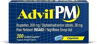 Advil PM, Pain Reliever/Nighttime Sleep Aid Caplet, 200mg Ibuprofen, 38mg Diphenhydramine, Pack of 200