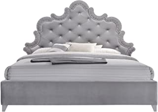 Meridian Furniture Sophie Velvet Upholstered Bed with Silver Nailhead Trim, Crystal Button Tufting, and Custom Chrome Legs, Queen, Grey