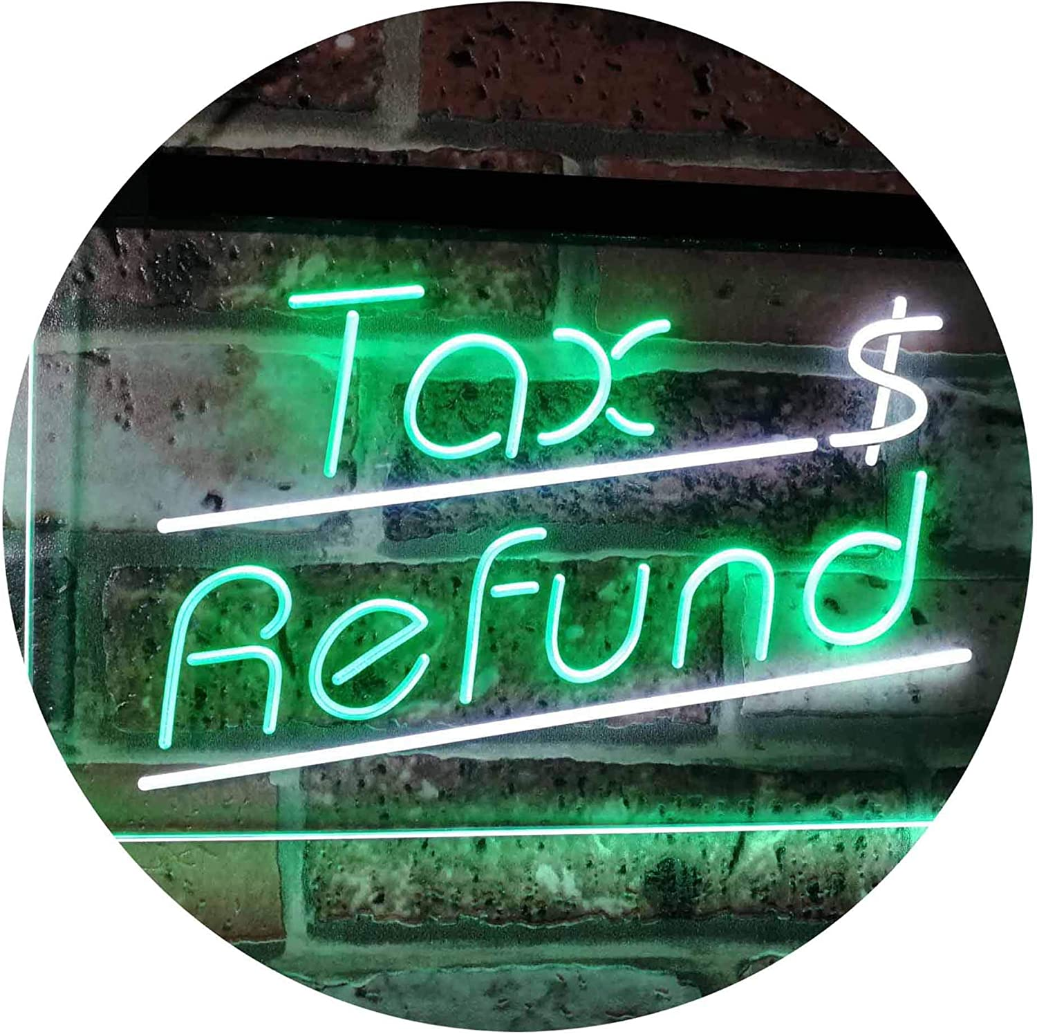 ADVPRO Tax Refund Income Tax Indoor Display Dual Farbe LED Barlicht Neonlicht Lichtwerbung Neon Sign Weiß & Grün 400mm x 300mm st6s43-i2976-wg