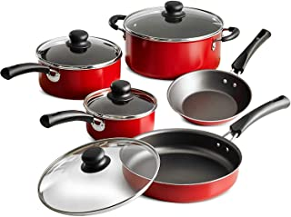 NEW 9-Piece Simple Cooking Nonstick Cookware Set (Red)