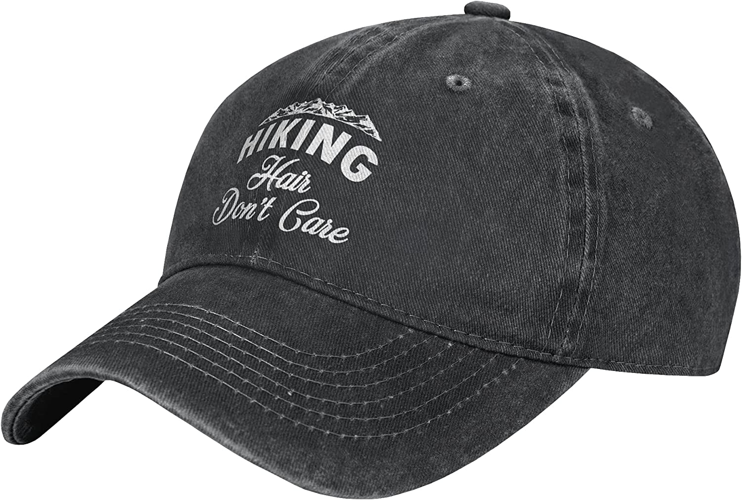 Wisedeal Women's Mountains Hiking Hair Don't Care Hat Adjustable Vintage Distressed Classic Washed Denim Dad Baseball Cap