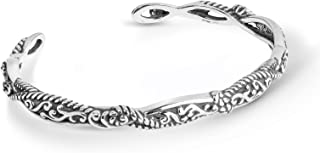 Sterling Silver Scroll and Rope Cuff Bracelet Size S, M or L