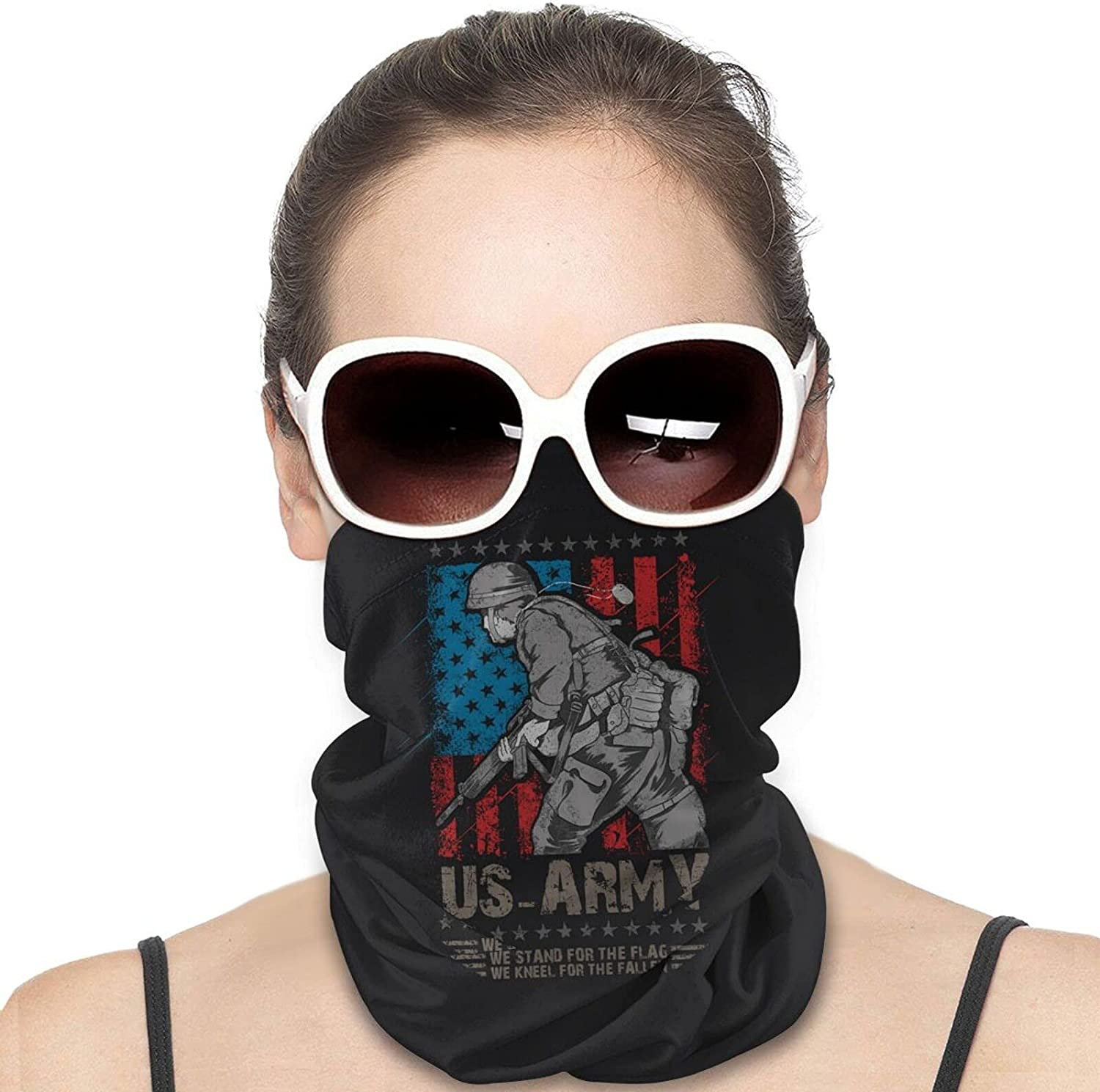 America USA Army Machine Gun with USA Flag Round Neck Gaiter Bandnas Face Cover Uv Protection Prevent bask in Ice Scarf Headbands Perfect for Motorcycle Cycling Running Festival Raves Outdoors