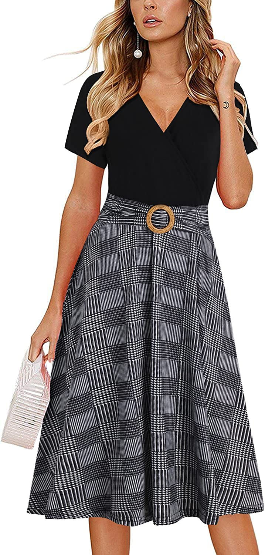 Women Criss-Cross Faux Wrap Vintage Short Sleeve Work Casual Party Tea Swing Dress with Pockets 980
