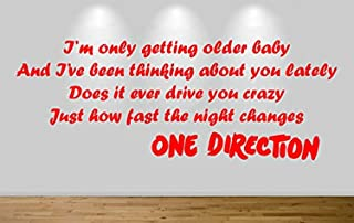 One Direction Wall Sticker Night Changes 1D Lyric Decal 9 Yellow