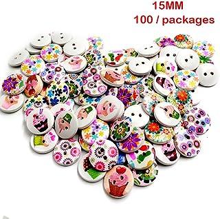 QIN 木のボタンセット 飾りボタン 手芸用品 おしゃれ 手作りボタン 2つ穴 手芸に最適 子供 手芸 可愛い 知育 選べる6タイプ