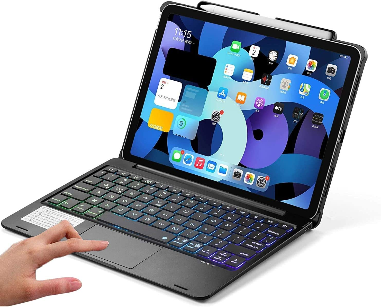 iPad pro 11 case 2021(3rd Generation) Case with Touchpad Keyboard and Pencil Holder, Backlits Bluetooth Trackpad Keyboard Flip Smart Cover Support 2nd Gen Apple Pencil Charging (Black Without Rotate)