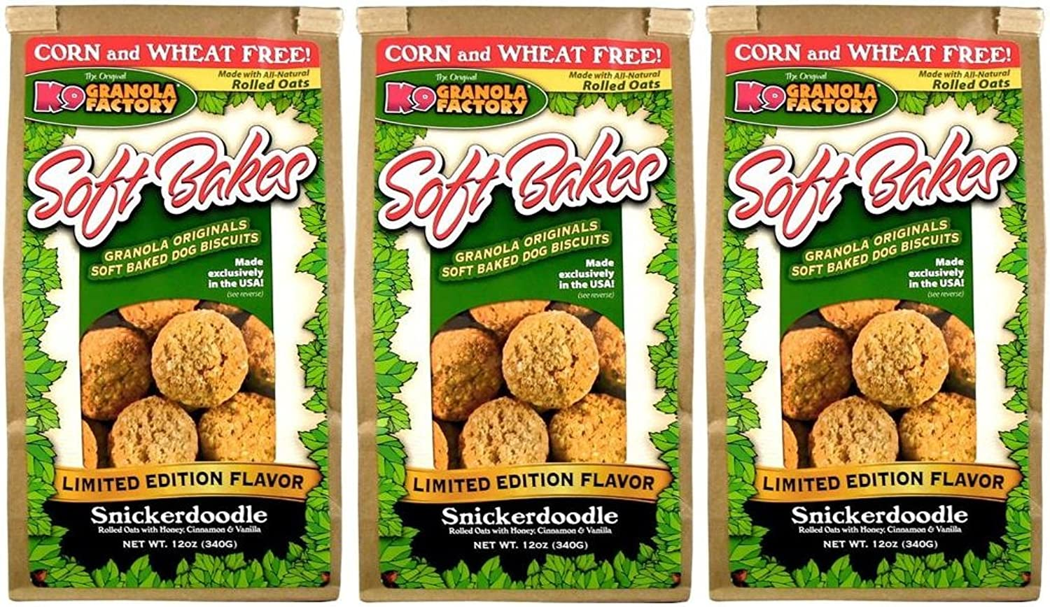 K9 Granola Factory Soft Bakes Limited Edition Snickerdodle, 12oz (3 Pack)