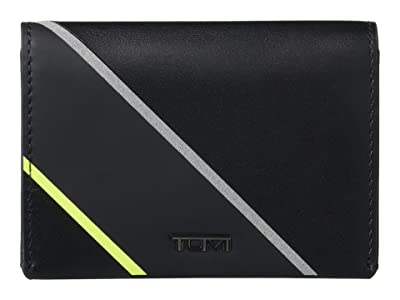 Tumi Nassau Gusseted Card Case (Black/Bright Lime) Wallet