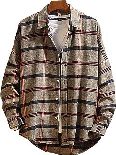 AmzBarley メンズ シャツ 長袖 ゆったり チェックシャツ カジュアル 秋 ベージュ おしゃれ トップス 100%コットン 大きいサイズ 男性用シャツ ファッション チェック柄 3色