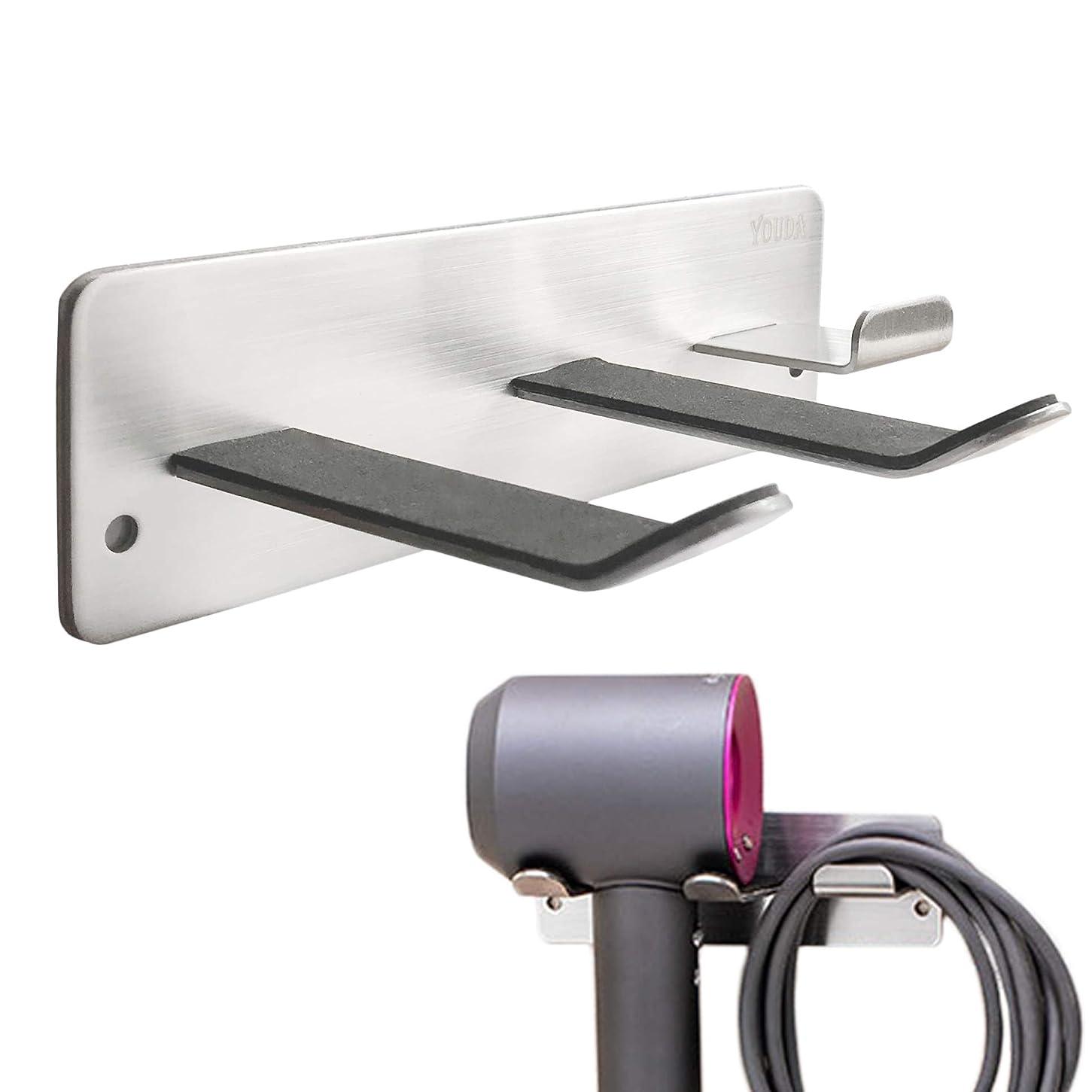 酸眼命題ヘアドライヤーホルダー、全てのヘアドライヤーに対応する壁掛けラック、バスルーム/ベッドルーム/洗面所/理髪店用スペースオーガナイザー、304ステンレススチール、シルバー