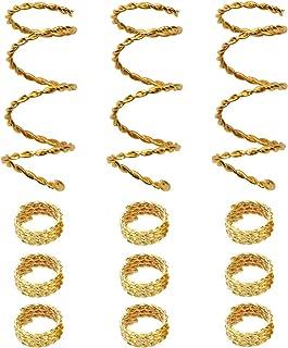 Teemico 30 Pieces Copper Hair Dreadlocks Coil Hair Wraps Braiding Dread Locks Metal Hair Cuffs Hair Braiding Jewelry Hair Decoration Accessories (Gold)