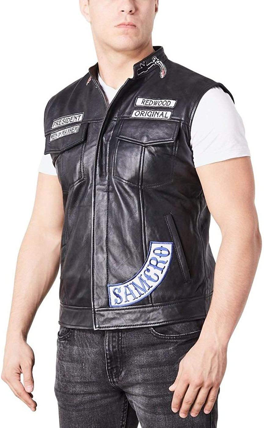 Men S Sons Of Anarchy Redwood Biker Rider Rocker Motorcycle Moterbike Cafe Racer Club Genuine Cowhide Leather Vest Clothing