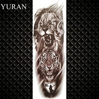 Sexy Long Full Arm Rose Clock Temporary Tattoos for Men Women Tatoo Body Leg Art Makeup Large Tiger Flower Tattoo Stickers (Color : GTQB074)
