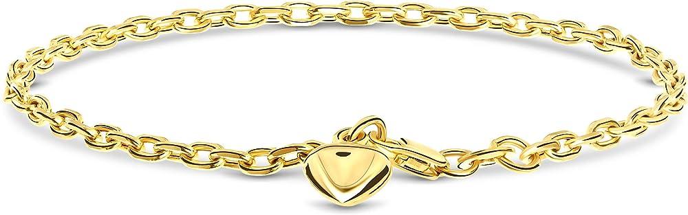 Miore, bracciale da donna con ciondolo a forma di cuore, in oro giallo14 kt/ 585(2,5 gr) MSIL4016B