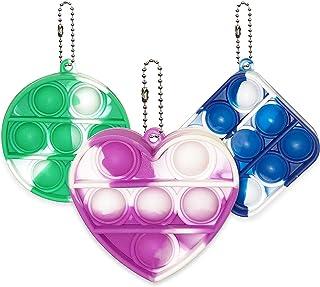 3 Pcs Simple Dimple Fidget Toy Mini Stress Relief Hand Toys, Square, Heart, Circle Keychain Bubble Fidget Toy, Squeeze Sen...