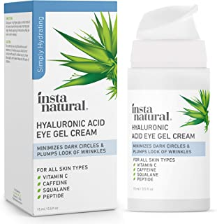 Hyaluronic Acid Eye Gel Facial Cream - Hydrating Dark Circle, Eye Bags Remover & Puffy Eyes Moisturizer - Crows Feet, Lines, Lifting & Firming, Brightening & Wrinkle Cream - Vitamin C & Caffeine - 0.5 oz