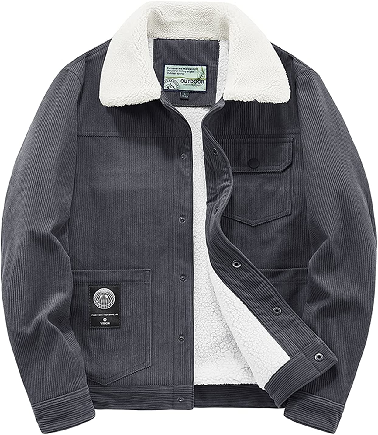 Men's Sherpa Trucker Jacket Casual Corduroy Vintage Slim Warm Fleece Denim Jacket
