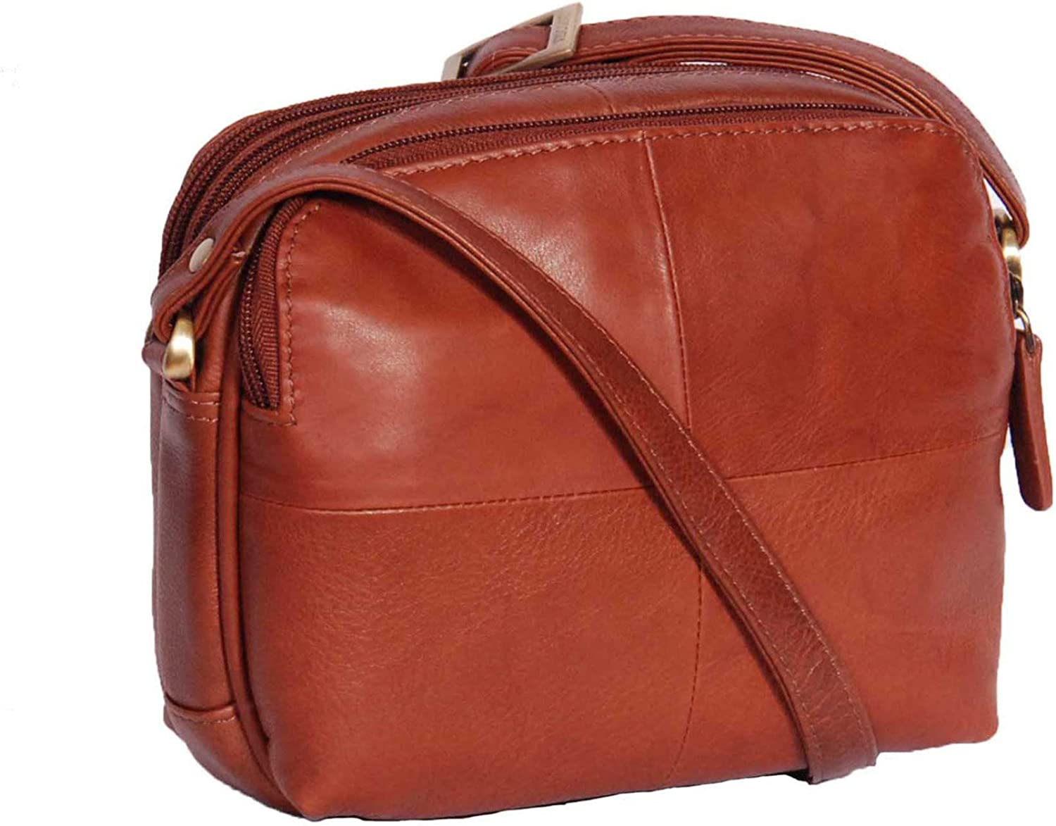 Womens Real Leather Small Organiser Travel Pouch Sling Shoulder Bag Bari Brown
