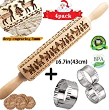 Christmas Wooden Rolling Pin,16.5'' Engraved Embossing Roll Pin and 3 PCS Biscuit Mold With Christmas Deer Pattern for Baking Embossed Cookies Christmas Symbol Baking biscuit… (43cm)