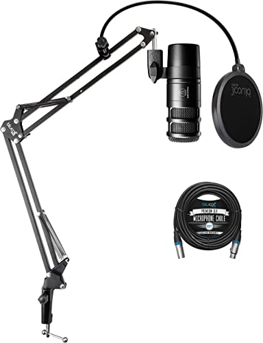 lowest Audio Technica discount AT2040 new arrival Hypercardioid Dynamic Podcast Microphone with XLR Connection, Integrated Shockmount Bundle with Blucoil 20-FT Balanced XLR Cable, and Boom Arm Plus Pop Filter outlet sale