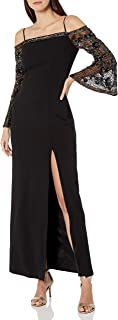 Adrianna Papell Womens Bead Crepe Long Dress Long Sleeve Formal Night Out Dress - Black