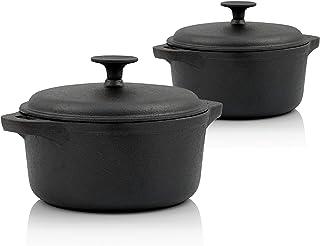 BBQ-Toro - Juego de Ollas de hierro fundido con tapa y asas I 3,0 + 4,0 litros I Redondas I Color negro I Curada I Parrilla I Camping I Horno