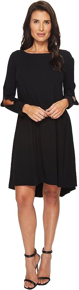 Mod-o-doc - Cotton Modal Spandex Jersey Split Sleeve Swing Dress with Lace Trim